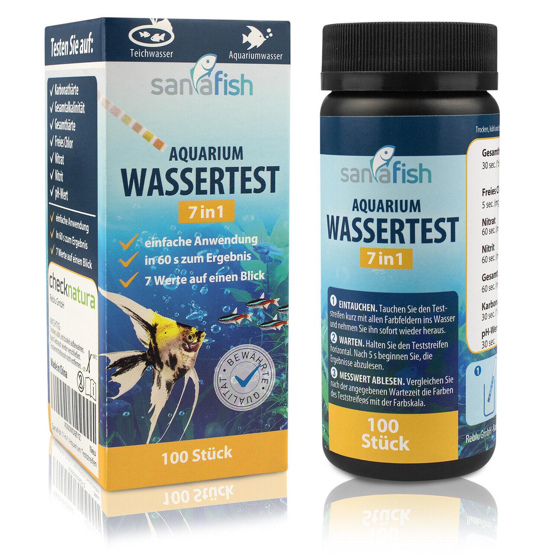 Aquarium Wassertest Set - 7 in 1, 100 Testreifen für Aquariumwasser von sanafish