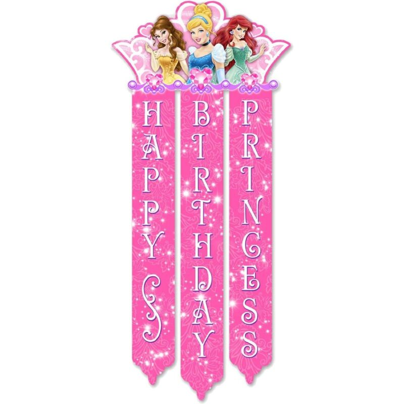 Disney Princess Child Party Happy Birthday Banner - Party Decor, Supplies