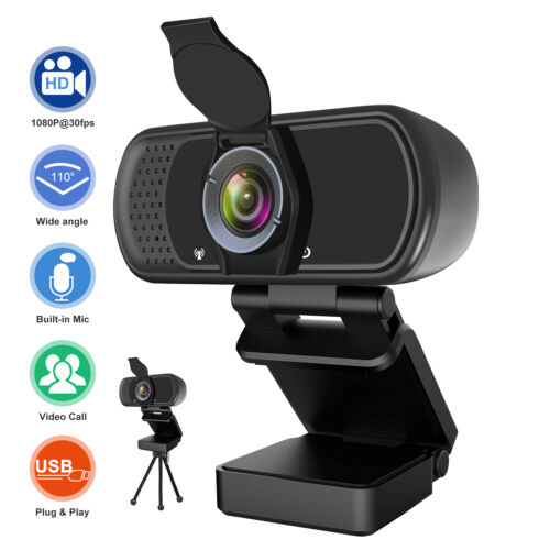 Full 1080P HD USB Webcam for PC Desktop & Laptop Web Camera with Microphone/FHD