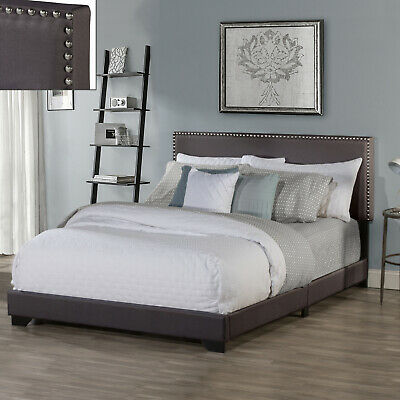 Queen Size Upholstered Bed Frame With Wood Slat Platform Headboard Nailhead Trim 10