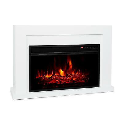Chimenea Electrica Estufa Calefactor eléctrico 2000W LED 10-30 °C Blanca