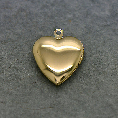 Heart Picture Locket - 24k Gold Plated Brass - Hinged Pendant Charm - 24kt Gold Plated Brass