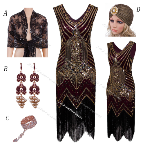 20s Vintage dress Cocktail Party Flapper Dress Costume Art Deco Sequin Dress