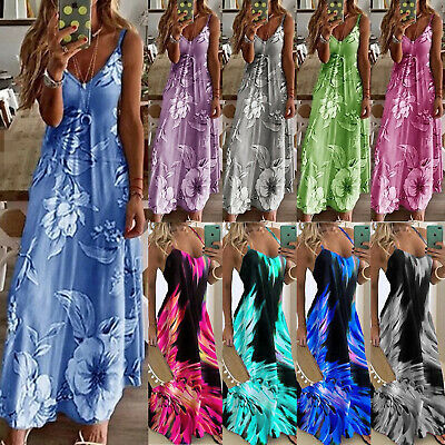 Womens Plus Size Sleeveless Strappy Boho Summer Holiday Maxi Swing Dress Casual