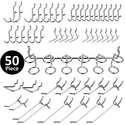 50 Pc Pegboard Hooks Organizer Accessories Set Chrome Plated Assortment Hardware