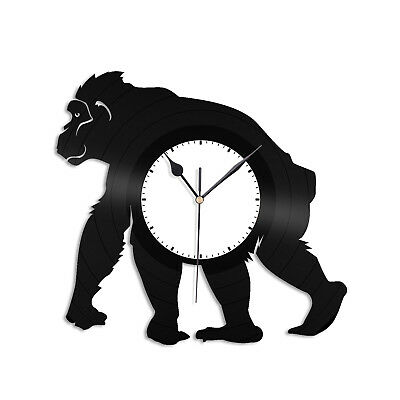 (Ape Vinyl Wall Clock Record Decorative Animals Monkey Unique Gift Room Decor)