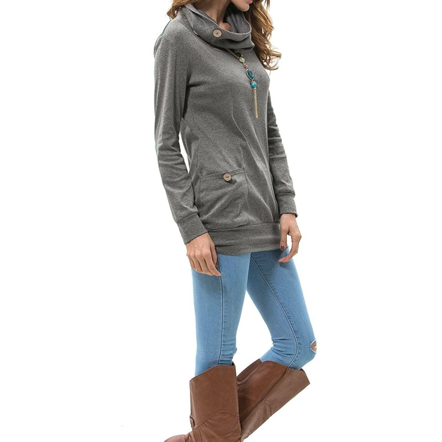 Levaca Womens Long Sleeve Button Cowl Neck Casual Tunic Top