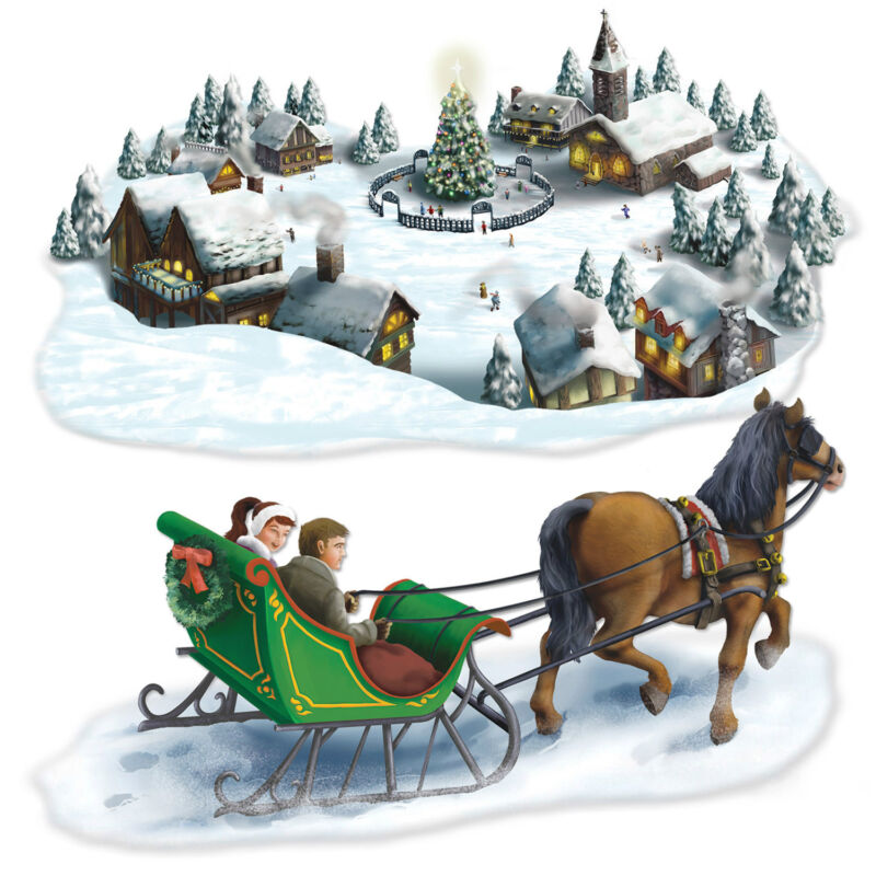 CHRISTMAS Winter Party Decoration HOLIDAY VILLAGE & SLEIGH RIDE ADD ON PROPS