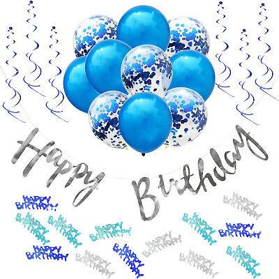 Happy Birthday Geburtstag Party Deko Set - Girlande Konfetti Ballons uvm. Blau ()