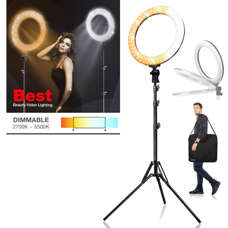 """Photography Dual Color Dimmable Adjustable LED Ring Light 18"""" for Photo Studio"""