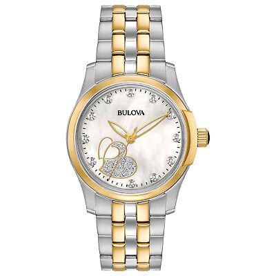Bulova Classic Women's 98P152 Diamond Accents Glitter Heart Dial Two-Tone Watch