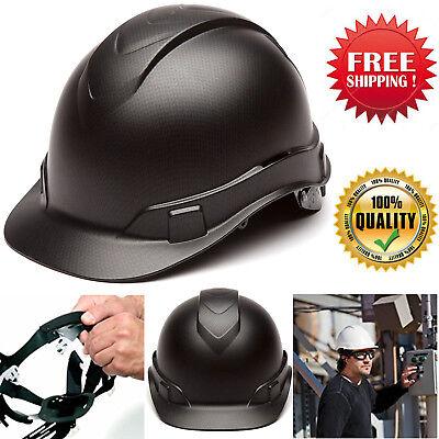 New Ridgeline Hard Hat 4 Point Ratchet Suspension Cap Safety Work Black Graphite