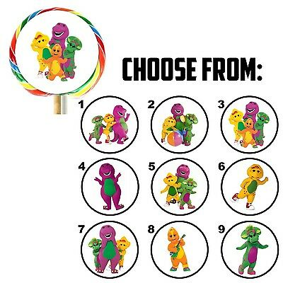 63 Barney And Friends Birthday Favor Lollipop Stickers - 1