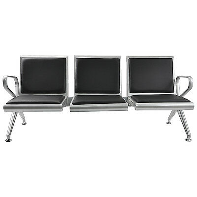 Salon 3-Seat Airport Office Reception Bench Waiting Chair w/Black PVC Cushion