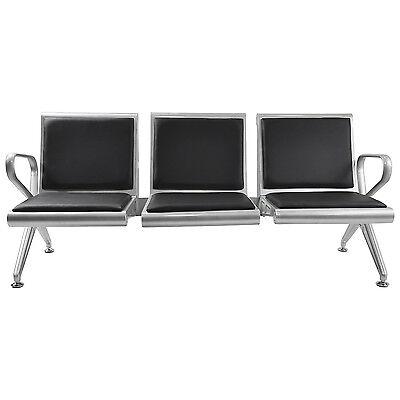 Salon 3-seat Airport Office Reception Bench Waiting Chair Wblack Pvc Cushion