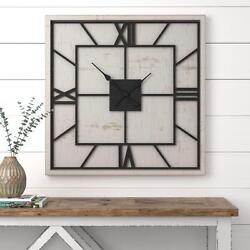 Square Clock Wooden Large Modern Industrial Art Artistic Design Wall Arm Large