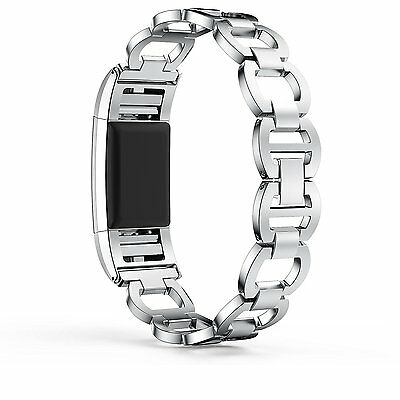 Fitbit Charge 2 Replacement Wristband Strap Band Stainless Steel Bracelet Silver