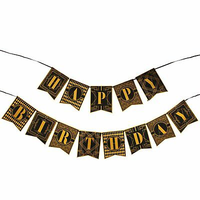1920s Happy Birthday Bunting Banner Roaring 20s Theme GREAT GATSBY Party Decor - Great Gatsby Themed Decorations