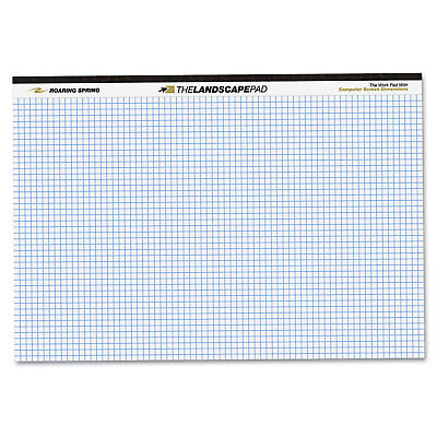 Roaring Spring Wide Landscape Format Quadrille Writing Pad 11 X 9-12 White 40
