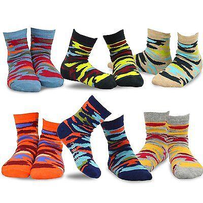 TeeHee Kids Boys Very Soft Fun Crew Socks 6 Pair Pack Colorful Camouflage Camo
