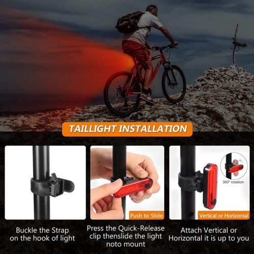 2PCS Bike Bicycle USB Rechargeable Rear Light Red 4 Modes LED Tail Lamp