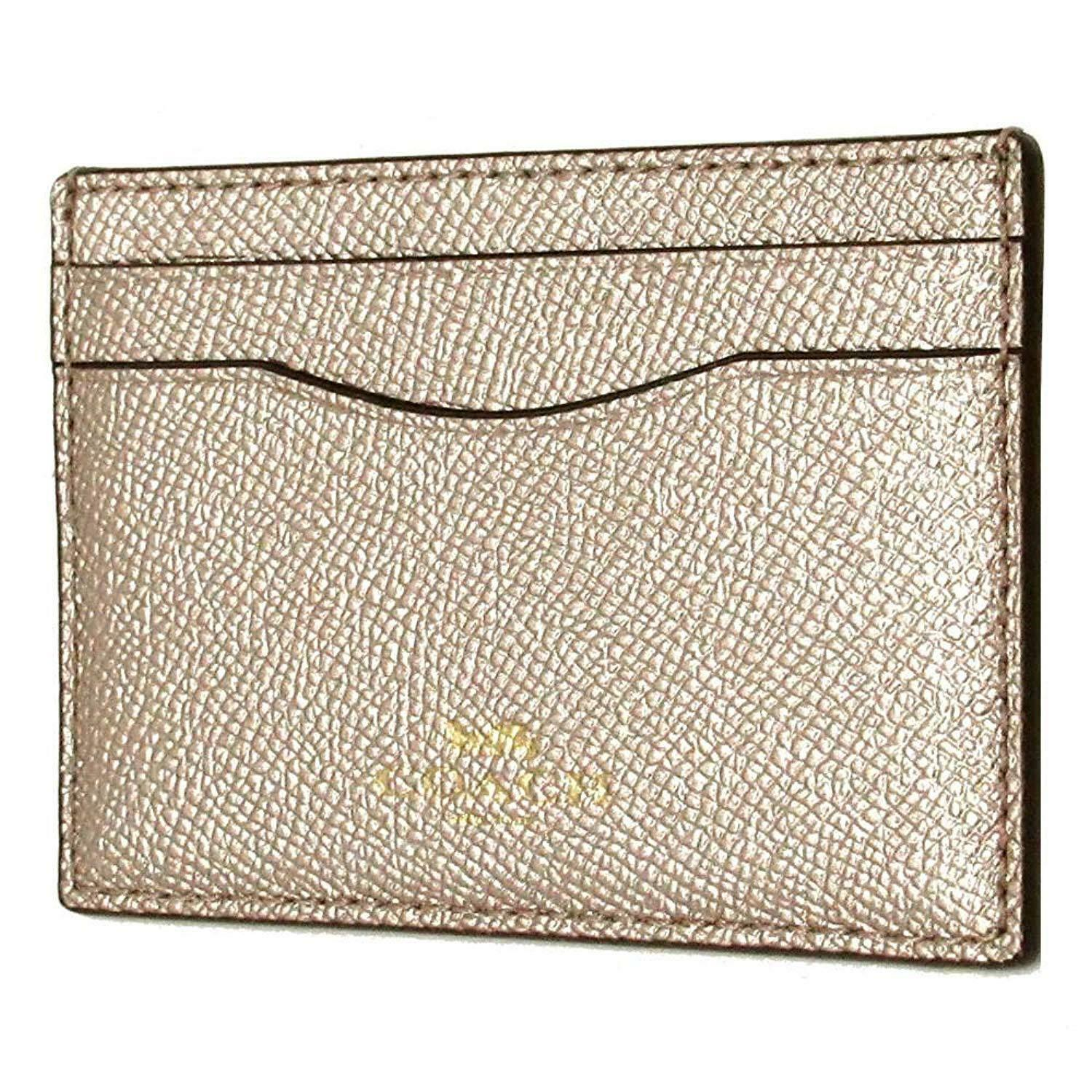 Coach Glitter Light Gold Platinum Crossgrain Leather Card Case