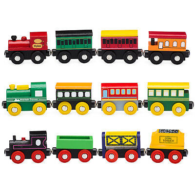 Playbees 12 Piece Wooden Toy Train Cars & Engine Set Compatible w/ Other Tracks