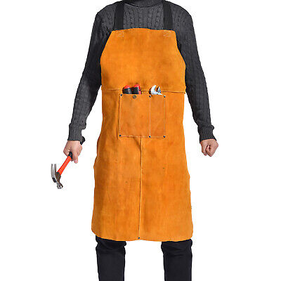 36 Leather Welding Bib Blacksmith Apron Work Tools Pockets Bbq Grilling Forge