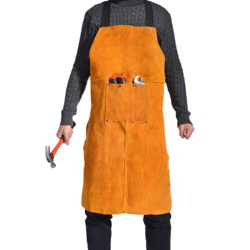 Leather Welding Apron Heavy Duty Heat Resistant Blacksmith Forge Work BBQ Bib