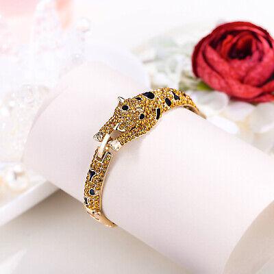 Animal Gold Bracelet - Leopard Panther Animal Bracelet Cuff Brown Rhinestone Crystal Gold Tone Gift