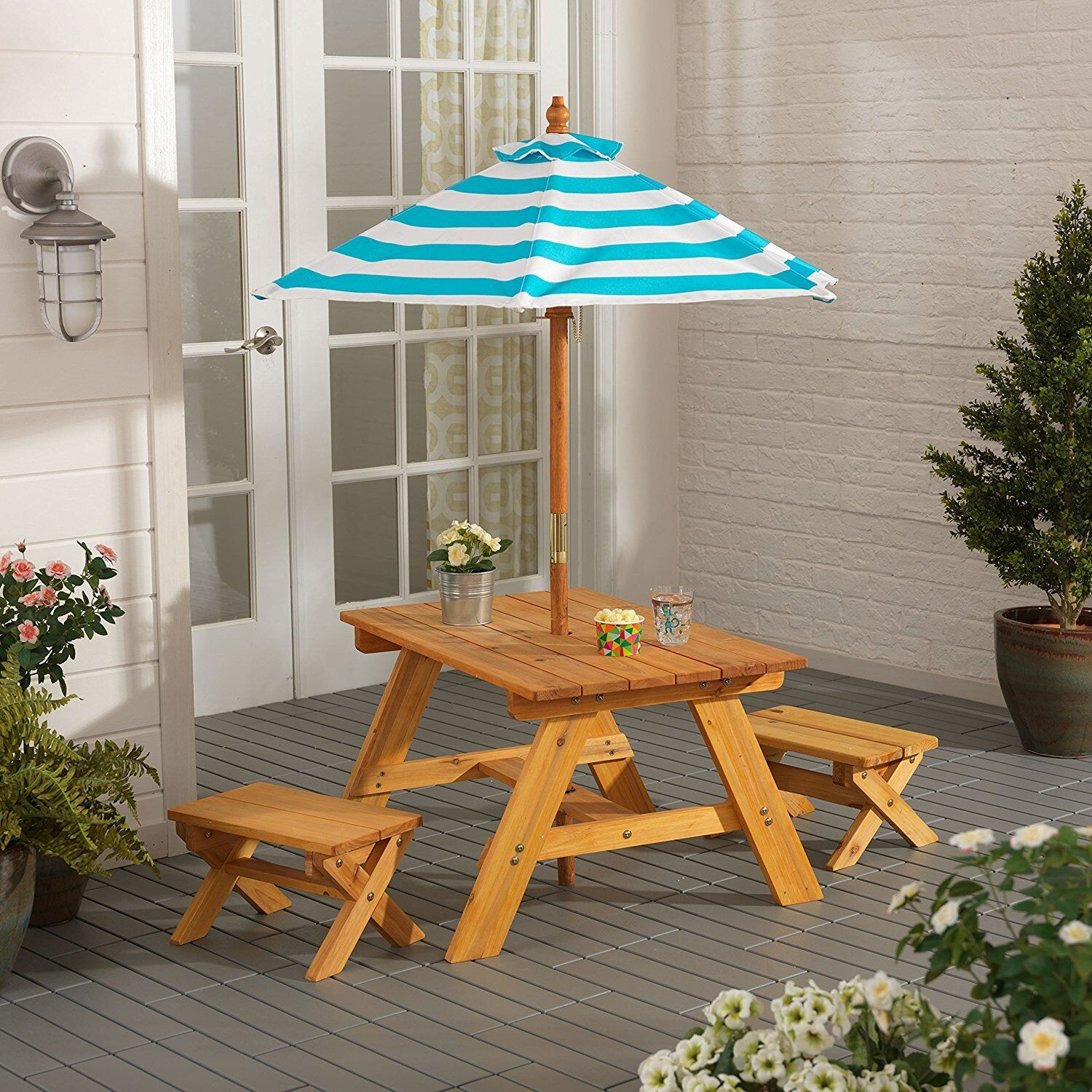 Outdoor Furniture 4Pc Kids Picnic Patio Dining Set with