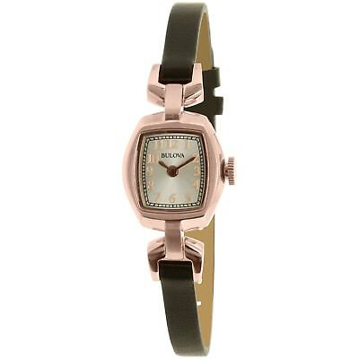 Bulova Women's 97L154 Quartz Rose Gold Case Silver Dial Leather Band 18mm Watch