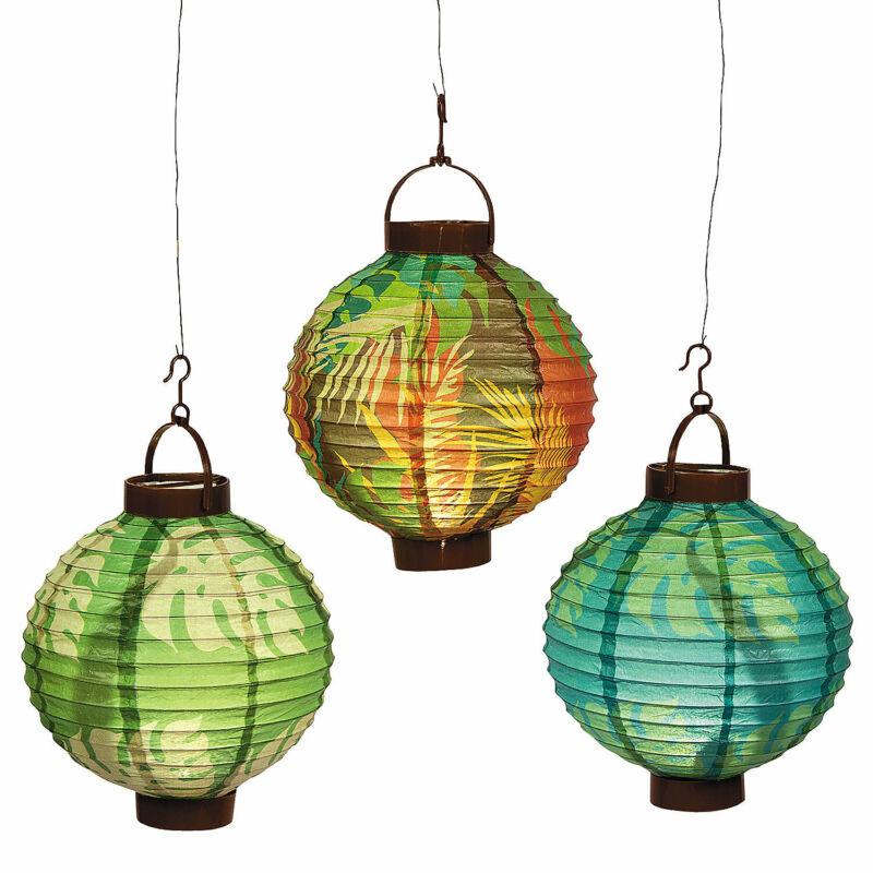 Luau Leaf Light-Up Hanging Paper Lanterns - Party Decor - 3 Pieces