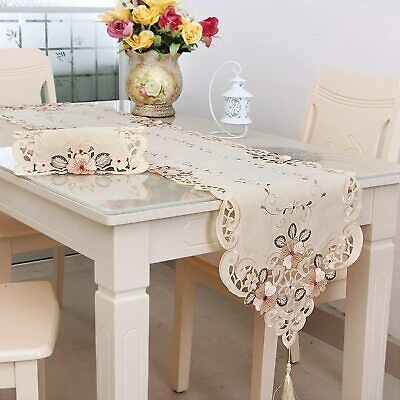 Arzoe Luxury Table Runner Embroidered Polyester Table Linens Classic