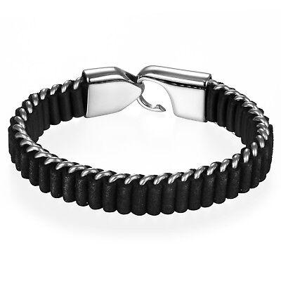 (Men Charm Black Braided Leather Stainless Steel Hook Buckle Bracelet Bangle Cuff)