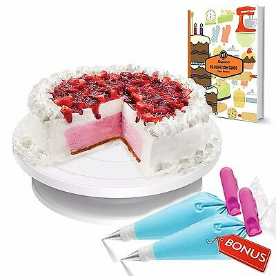 Cake Decorating Turn-table Stand With 10 disposable Icing Bags - Cake Table