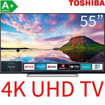 """Toshiba 55"""" 4K Ultra HD Smart TV LED HDR HDR10 HLG WLAN Fernseher 139cm 2xUSB A+"""
