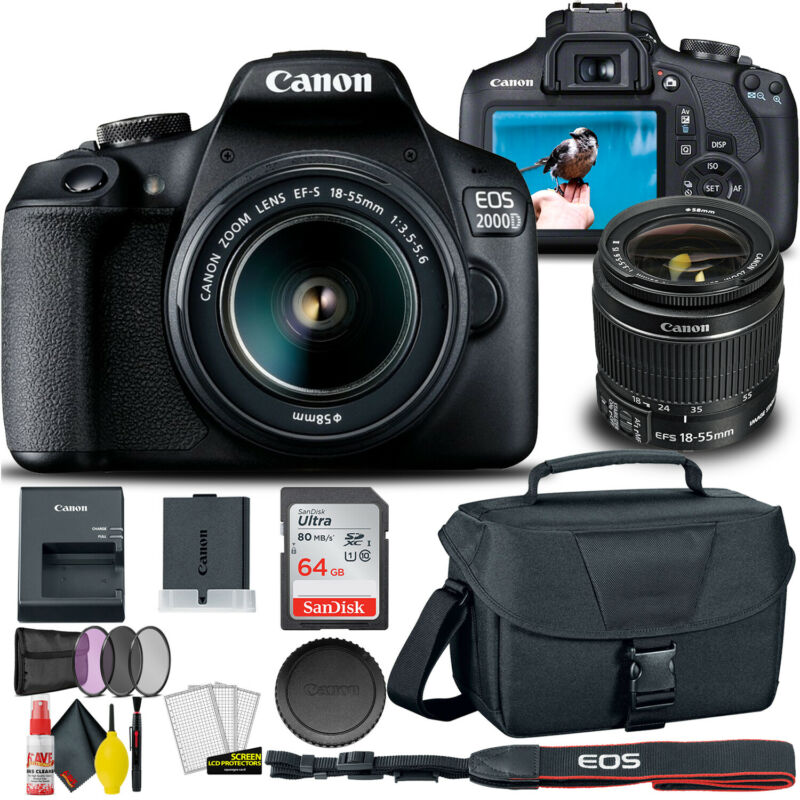 Canon EOS 2000D / Rebel T7 DSLR Camera with 18-55mm Lens  + Creative Kit