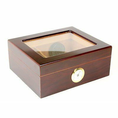 Mantello Finest Cedar Humidor 25-50 Cigar Desktop Humidor Royale Glasstop Box