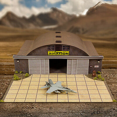 1/87, 1/200, HO Scale Aircraft Hanger & HO Aircraft Model Display Building Kit