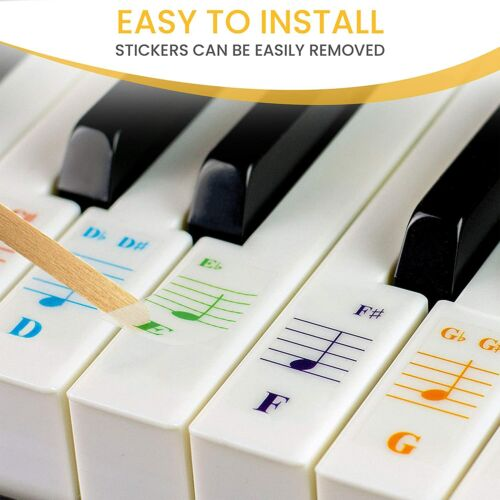 Color Piano Stickers and Lesson Book for 49/61/76/88 Key Keyboards - Removable