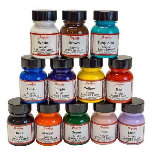 Angelus   Acrylic Leather Paint Kits   12 Pack Kits   1oz Bottles
