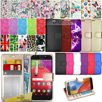 For Motorola Moto E4 PLUS XT1770 - Wallet Leather Case Cover + Screen Guard
