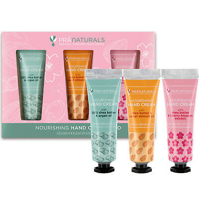 PraNaturals Hand Cream Gift Set Natural Extracts Moisturising Shea Butter 3x30ml