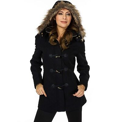 Fur Trimmed Toggle - Alpine Swiss Duffy Womens Hooded Parka Fur Trim Wool Coat Toggle Button Jacket