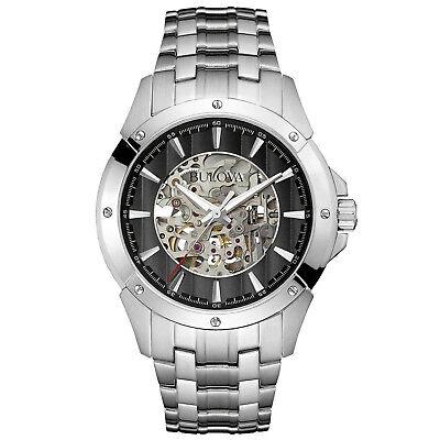 Bulova Men's Automatic Black Skeleton Dial Silver-Tone 43mm Watch 96A170