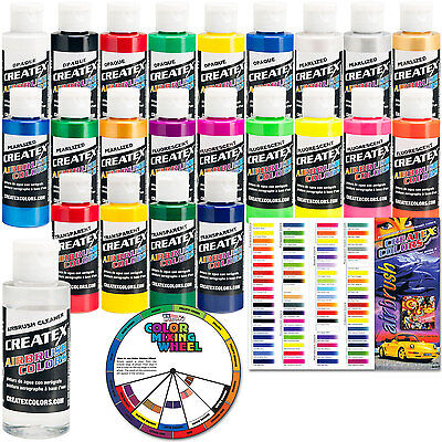 22 2oz Createx Airbrush Color Paint Kit Cleaner Primary Pearl Opaque Fluorescent