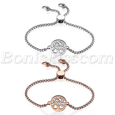 Women Stainless Steel Freely Adjustable Charm Hollow Tree of Life Bracelet Chain