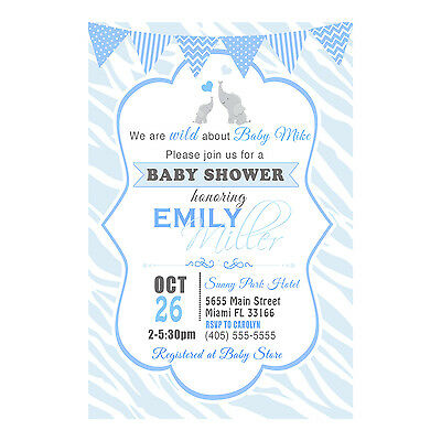 30 invitations elephant boy baby shower sprinkle  blue zebra animal print custom (Zebra Print Baby Shower Invitations)