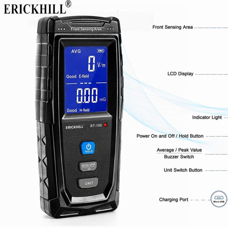 2 in 1 LCD Electromagnetic Radiation Detector EMF Meter Tester AVG/VPP Function